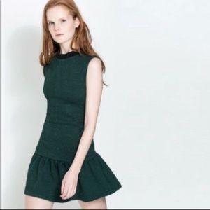 Zara Trafaluc dropwaist quilted dress forest green